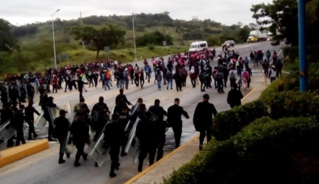 Foto: La vía fue liberada y resguardada para evitar que fuera tomada nuevamente, 21 de agosto de 2019 (Twitter @SSyPC_Chiapas)