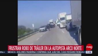 Policías frustran robo de tráiler en la autopista Arco Norte