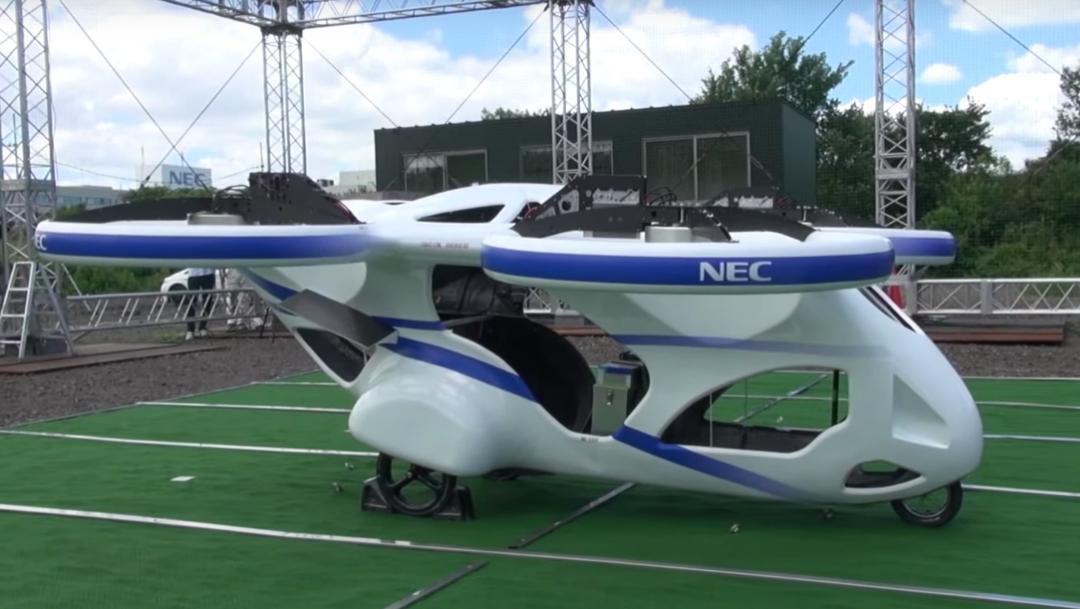 Foto: Prototipo de auto volador presentado por la compañía NEC Corp. 8 agosto 2019