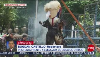 Queman figura de Trump afuera de la embajada de Estados Unidos en CDMX