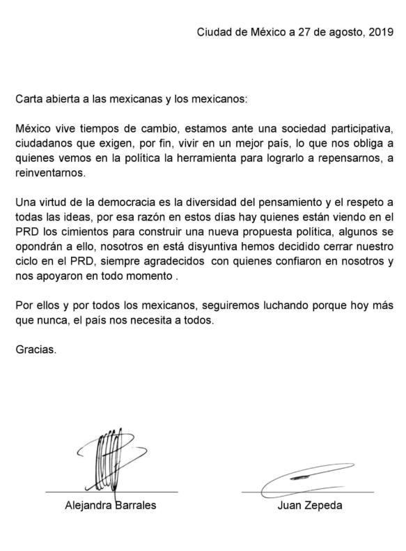 IMAGEN Carta de renuncia de Alejandra Barrales y Juan Zepeda al PRD (Twitter)