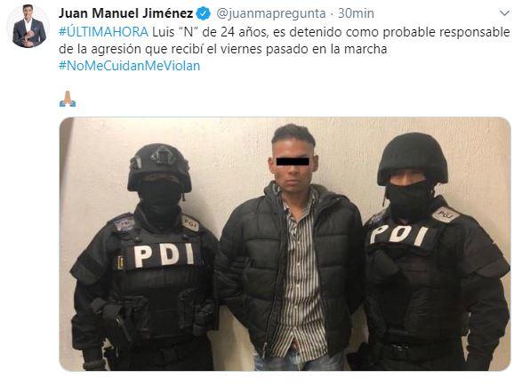 Foto Detienen a sujeto que golpeó a reportero durante marcha #NoMeCuidanMeViolan 21 agosto 2019