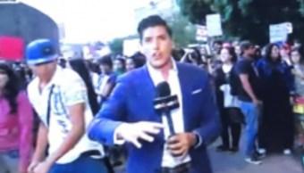Foto: El reportero fue agredido cuando transmitía en vivo, 22 de agosto 2019. (Youtube)
