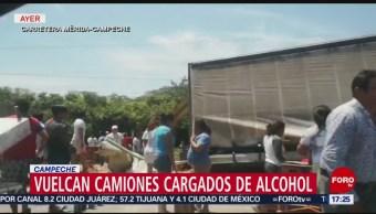 Video Roban Cerveza Tras Volcadura Camión Campeche
