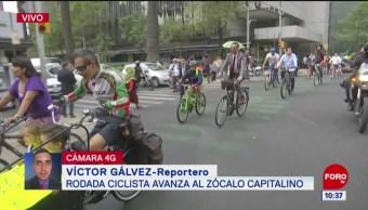 Rodada ciclista se dirige al Zócalo de la CDMX