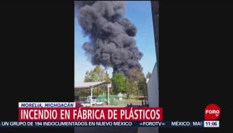 Se incendia fábrica de plásticos en Morelia, Michoacán