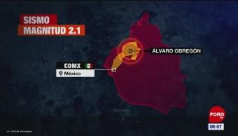 Se registra sismo con epicentro en Álvaro Obregón, CDMX