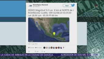 Se registra sismo en Veracruz