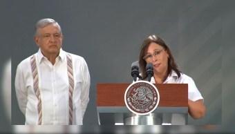 Rocío Nahle, secretaria de Energía, ofrece una conferencia de prensa junto al presidente Andrés Manuel López Obrador, 23 AGOSTO 2019