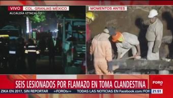 Foto: Seis lesionados por flamazo en toma clandestina Iztacalco