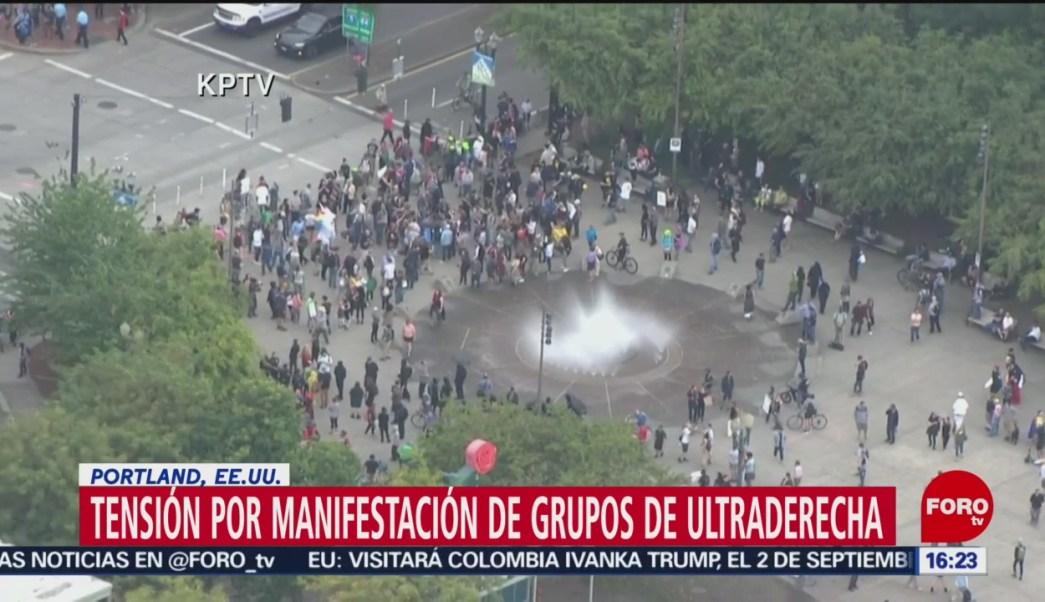 FOTO: Sigue la tensión en Portland por manifestaciones de grupos de ultraderecha, 17 Agosto 2019