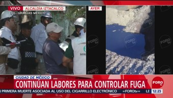 FOTO: Siguen labores para controlar fuga de combustible en Iztacalco, 24 Agosto 2019