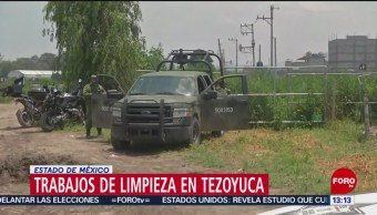 FOTO: Siguen trabajos de limpieza tras fuga de gas en Tezoyuca, Edomex, 25 Agosto 2019