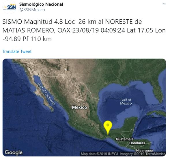IMAGEN Se registra sismo en Oaxaca (SSN)