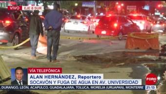 FOTO: Socavón y fuga de agua en avenida Universidad en la CDMX, 25 Agosto 2019