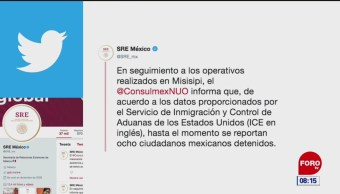 SRE reporta ocho mexicanos detenidos durante redadas en Misisipi