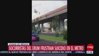 FOTO: Sujeto intentó arrojarse de tramo elevado del Metro en la Línea B, 17 Agosto 2019