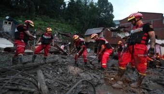 Foto: El supertifón Lekima provoca un deslizamiento de tierra que arrasó una aldea en el condado de Yongjia, 10 de agosto de 2019 (EFE)