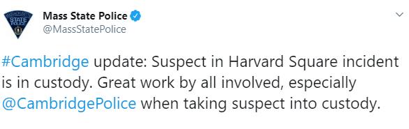 IMAGEN Detienen a tirador activo en Universidad de Harvard (Twitter)