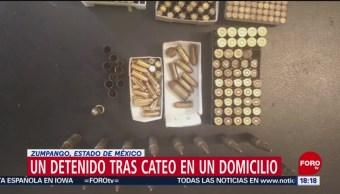 FOTO: Un detenido tras cateo en un domicilio en Zumpango, Estado de México, 24 Agosto 2019