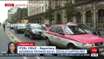 FOTO: Adornos Patrios en el Zócalo Capitalino,14 septiembre 2019