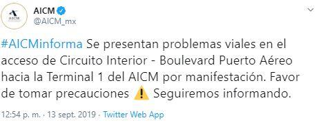 Foro AICM pide tomar precauciones por bloqueo de policías federales 13 septiembre 2019