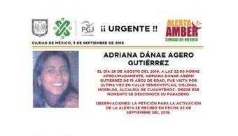 Foto Alerta Amber Ayuda a localizar a Adriana Dánae Agero Gutiérrez 3 septiembre 2019