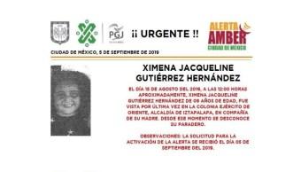 Foto Alerta Amber Ayuda a localizar a Ximena Jacqueline Gutiérrez Hernández 6 septiembre 2019