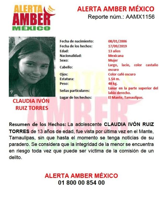 FOTO Se activa Alerta Amber por Claudia Ivon Ruiz Torres (Twitter)