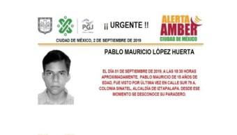 Foto Alerta Amber para localizar a Pablo Mauricio López Huerta