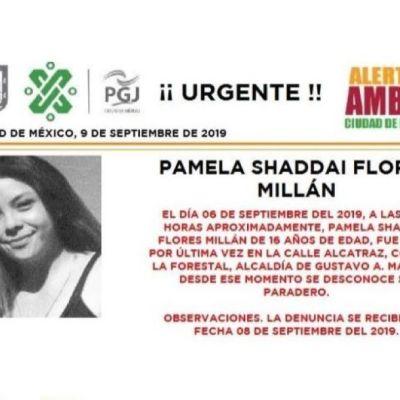 Alerta Amber: Ayuda a localizar a Pamela Shaddai Flores Millán