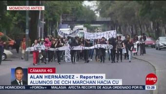 FOTO: Alumnos CCH Azcapotzalco Marchan Hacia CU