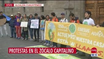 Ambientalistas protestan frente a Palacio Nacional