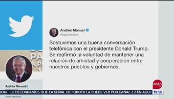 Foto: Amlo Dialoga Teléfono Donald Trump 11 Septiembre 2019