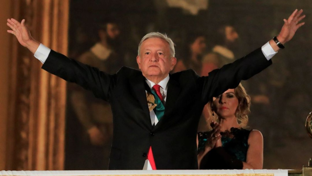 "Foto: Andrés Manuel López Obrador, presidente de México, encabezó ""El Grito"" de Independencia, el 16 de septiembre de 2019. (Reuters)"