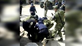 Foto: Muere elemento de la Guardia Nacional agredido en Bochil, Chiapas, 29 septiembre 2019