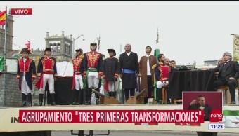 FOTO: Carros alegóricos representan las cuatro transformaciones de México en desfile militar, 16 septiembre 2019