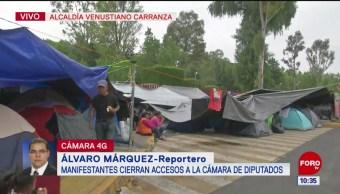 CNTE bloquea accesos a la Cámara de Diputados