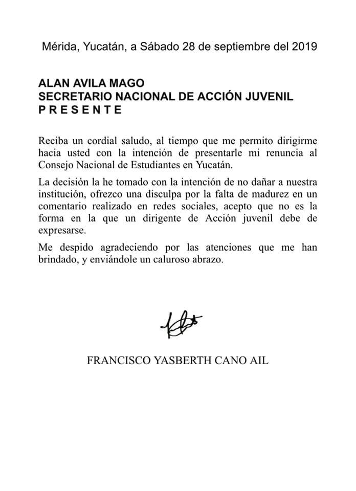Foto: carta francisco cano ail a secretario pan