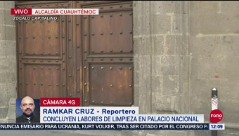 FOTO: Concluyen trabajos de limpieza tras pintas en Palacio Nacional, 28 septiembre 2019