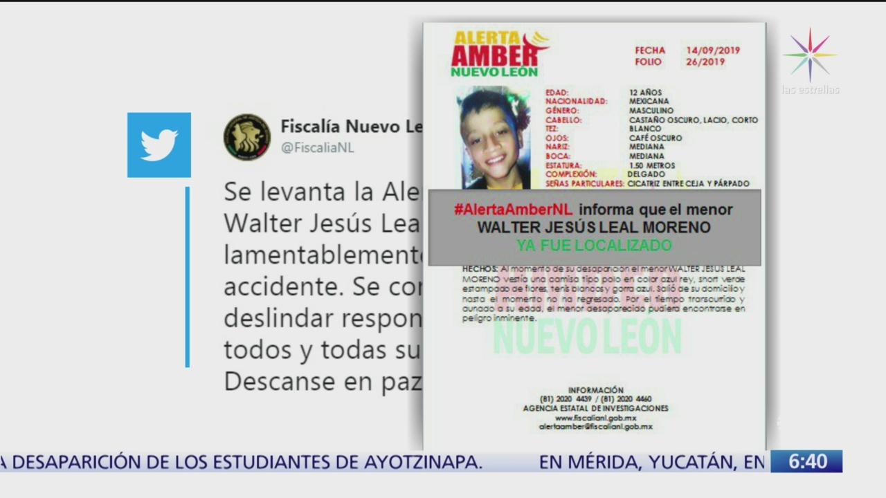 Confirman muerte de niño que había desaparecido en Nuevo León