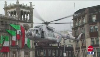 Despega helicóptero de la plancha del Zócalo capitalino