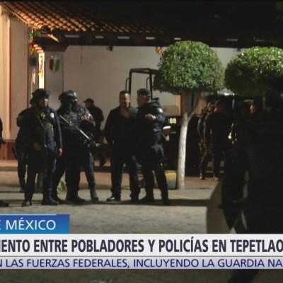 Enfrentamiento entre pobladores y policías en Edomex