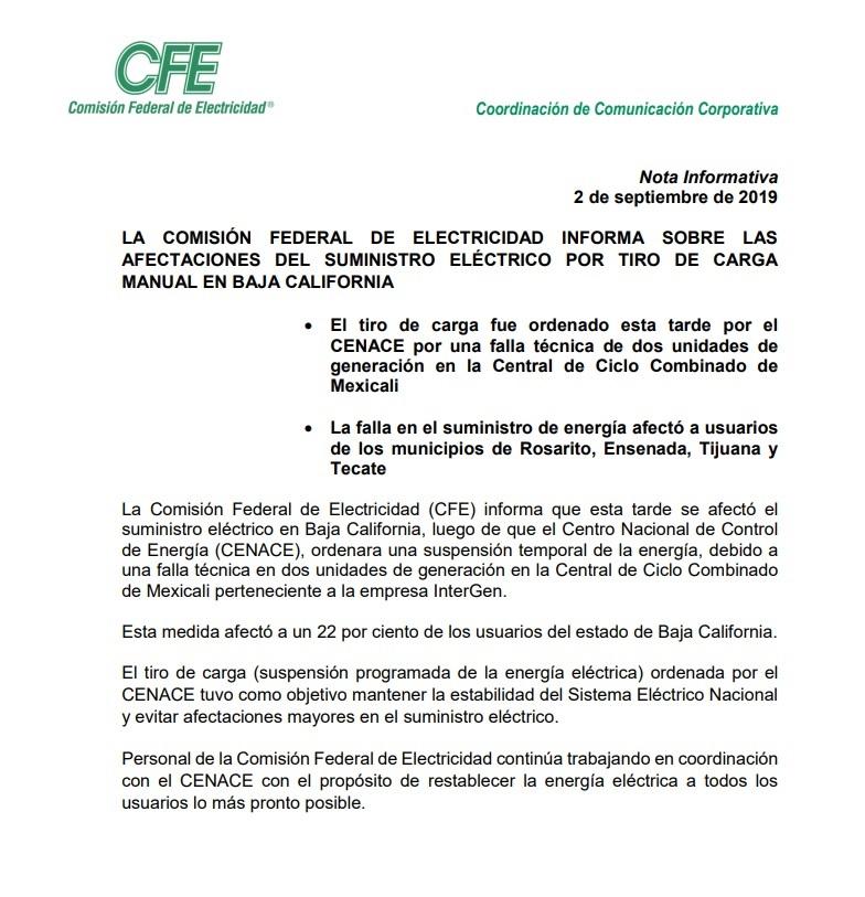 Comunicado de la CFE.