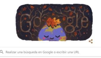 Foto: Google celebra el inicio del otoño con un doodle que representa al planeta con una hoja de árbol que cae sobre su parte superior, 23 de septiembre de 2019 (Google)