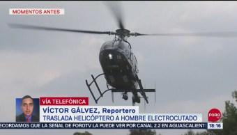 Helicóptero traslada a hombre electrocutado en la CDMX