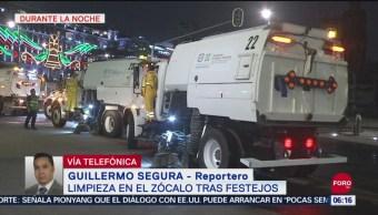 FOTO: Limpian el Zócalo CDMX tras fiestas patrias y primer Grito de AMLO, 16 septiembre 2019