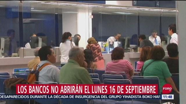 Los bancos no abrirán el lunes 16 de septiembre