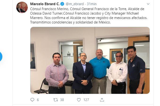 Foto: Tuit del secretario de Relaciones Exteriores, Marcelo Ebrard, 1 septiembre 2019