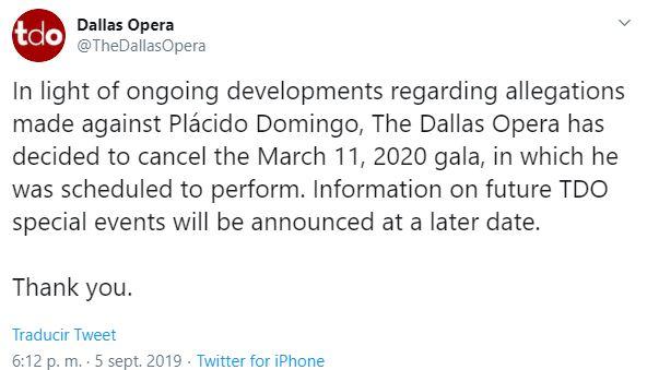 Foto Ópera Dallas cancela gala con Plácido Domingo por denuncias 6 septiembre 2019